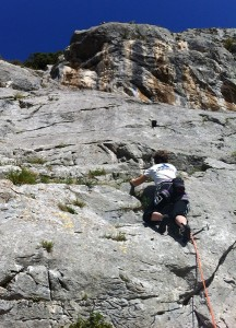 Great warm ups on the slabs with the steeper pitches of Depiedradores (the groove) and Corner (the arete) obvious above...