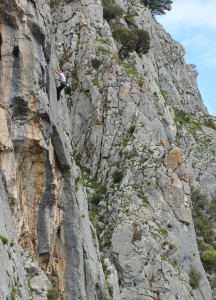 Unknown climber on the super classic slab of Place Torres 6c, Escalon...