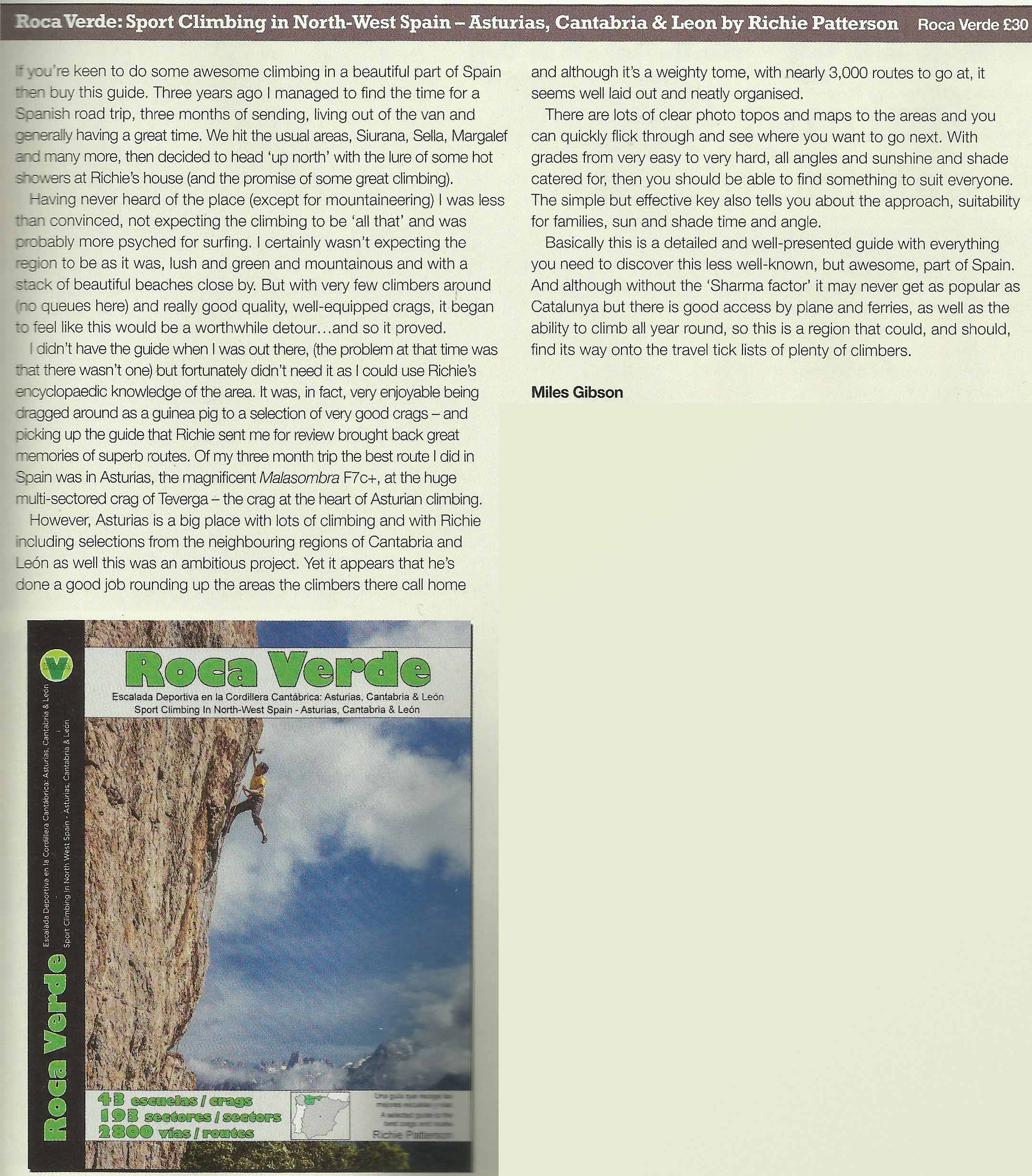 Roca Verde review by Miles Gibson publshed by Climber Magazine Nov 2014