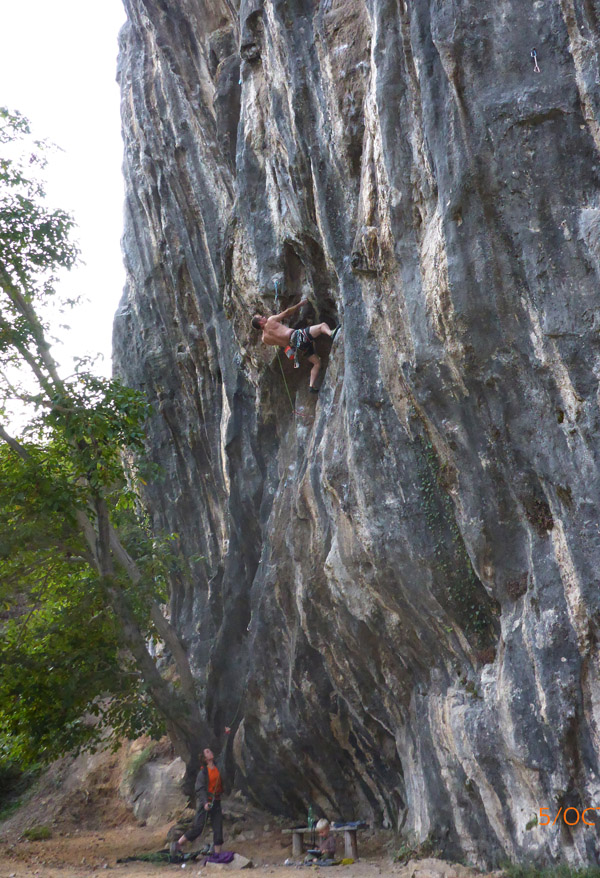 The author on Momo, 7b+, Esplanda..